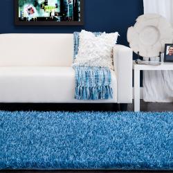 Hand-woven Blue Vivid Soft Shag (1'9 x 2'10) - Thumbnail 2
