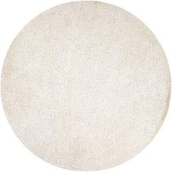 Hand-woven White Lamia Soft Shag (6' Round)