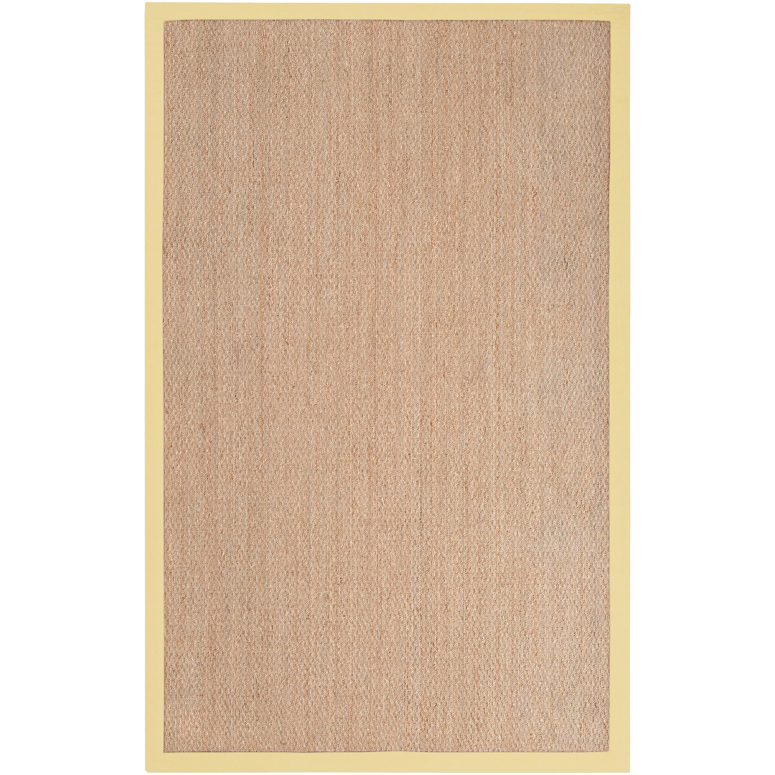 Hand-woven Yellow Tactical Natural Fiber Seagrass Cotton Border Rug (8' x 10')