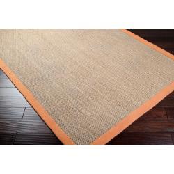 Hand-woven Orange Vessel Natural Fiber Seagrass Cotton Border Rug (9' x 13')