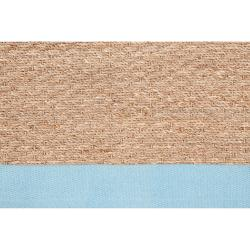 Hand-woven Blue Skilled Natural Fiber Seagrass Cotton Border Rug (5' x 8') - Thumbnail 2