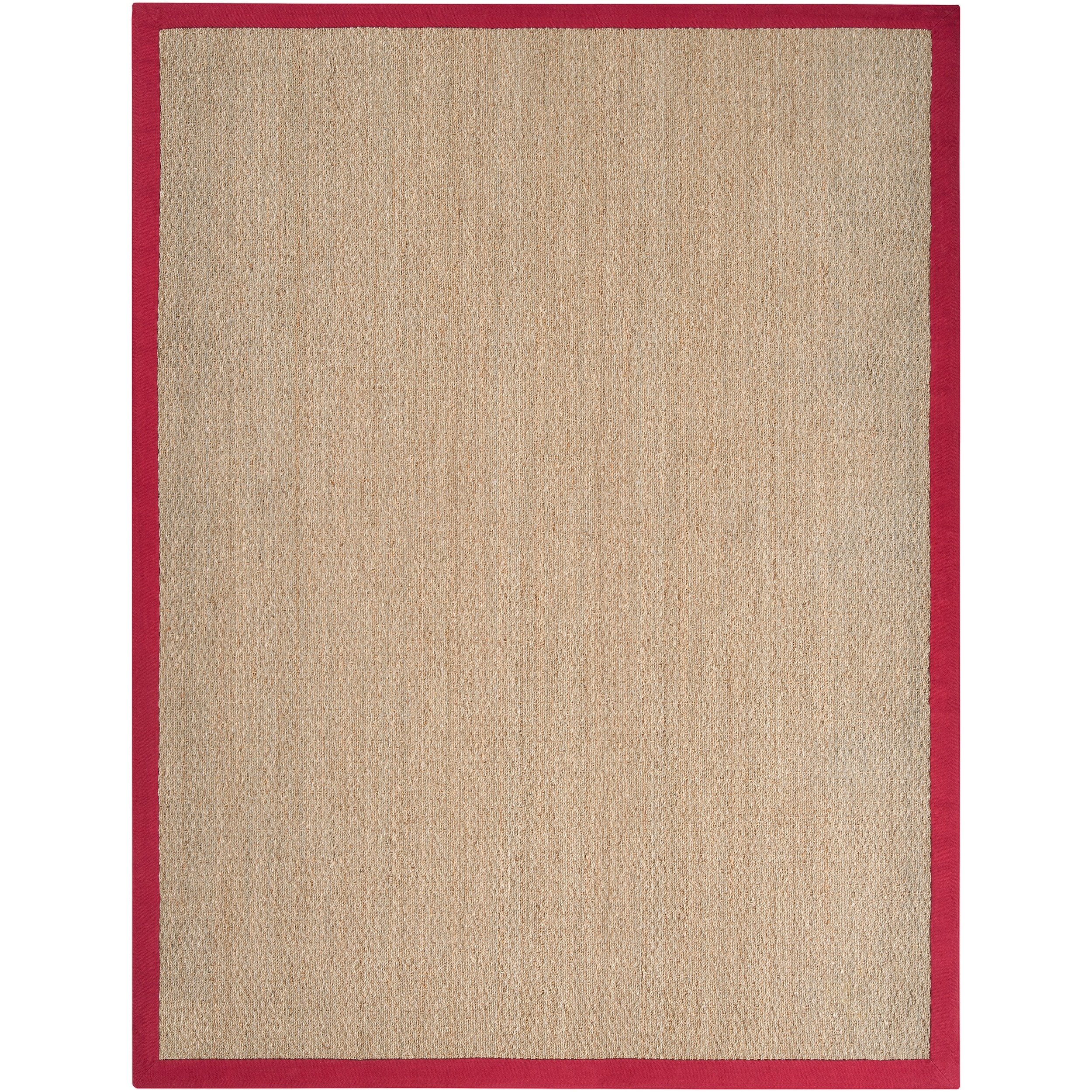 Hand-woven Red Flawless Seagrass Rug (8' x 10')