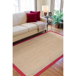 Hand-woven Red Flawless Seagrass Rug (8' x 10') - Thumbnail 2