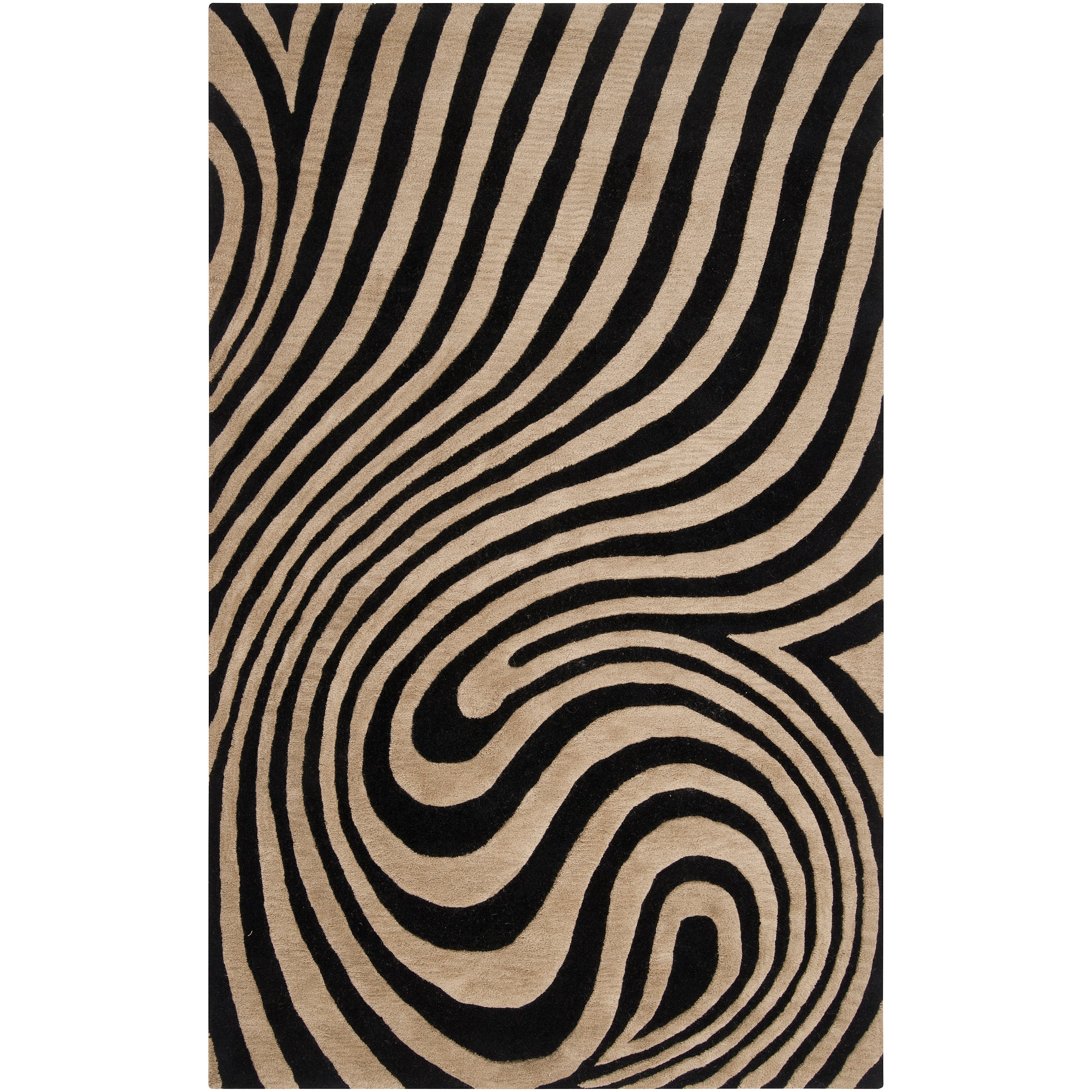 Hand-tufted Contemporary Black/Beige Swirl Bramble Wool Abstract Rug (8' x 10')