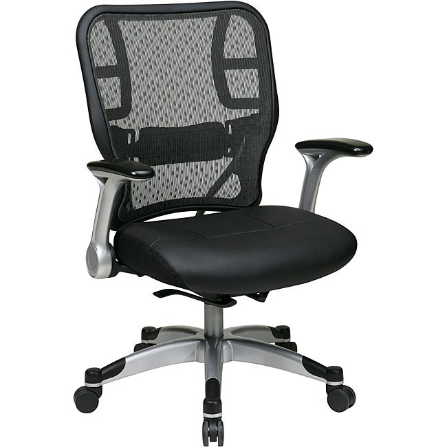 Office Star Deluxe R2 SpaceGrid Back Chair with Flip Arms