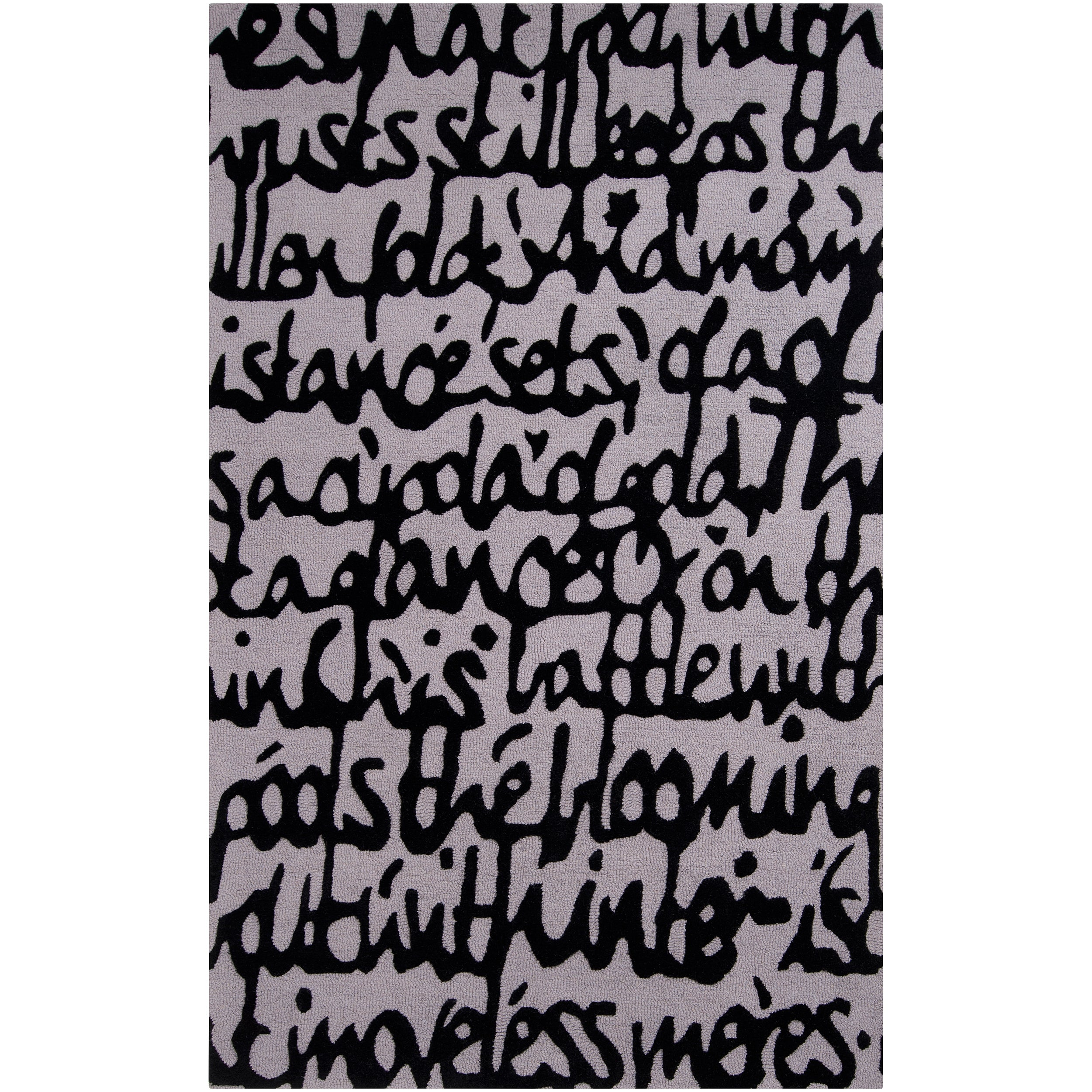 Hand-tufted Contemporary White/Black Scriptive Contemporary Stella Smith New Zealand Wool Abstract Rug (3