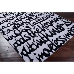Hand-tufted Contemporary White/Black Scriptive Contemporary Stella Smith New Zealand Wool Abstract Rug (3 - Thumbnail 1