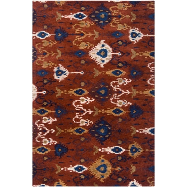 Hand-tufted Red Akutan New Zealand Wool Area Rug - 3'3 x 5'3