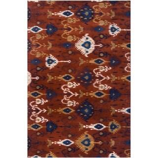 Hand-tufted Red Akutan New Zealand Wool Area Rug - 3'3 x 5'3