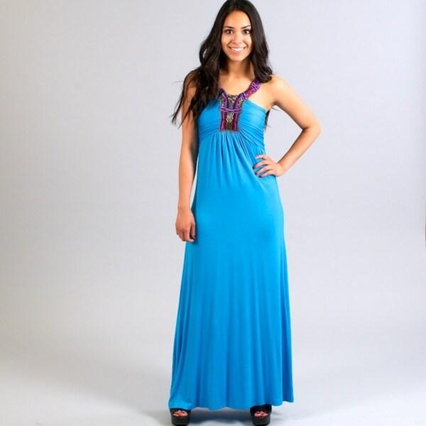 Meetu Magic Women's Turquoise Beaded Neck Dress