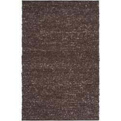 Hand-woven Casual Solid Brown Angoon Wool Area Rug (5' x 8') - Thumbnail 0
