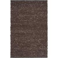 Hand-woven Casual Solid Brown Angoon Wool Area Rug (5' x 8')