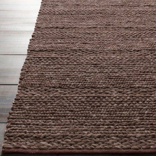 Hand-woven Casual Solid Brown Angoon Wool Area Rug - 5' x 8'