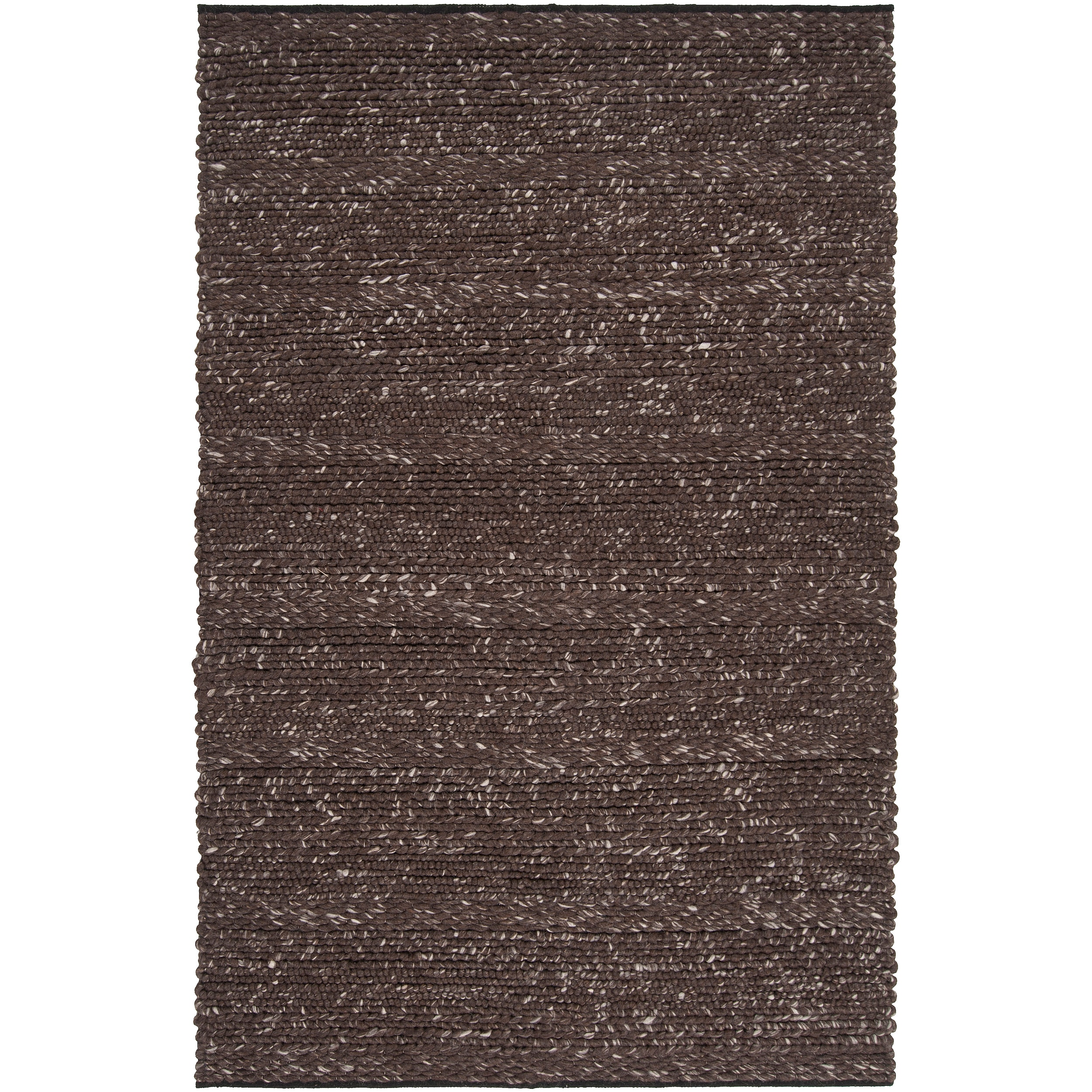 Hand-woven Casual Solid Brown Angoon Wool Area Rug - 8' x 10'