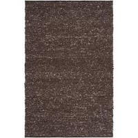 Hand-woven Casual Solid Brown Angoon Wool Area Rug (8' x 10')