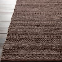 Hand-woven Casual Solid Brown Angoon Wool Area Rug - 8' x 10'