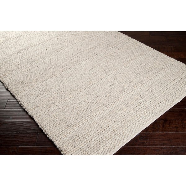 Hand Woven Casual Solid White Aniak Wool Rug 8 X 10