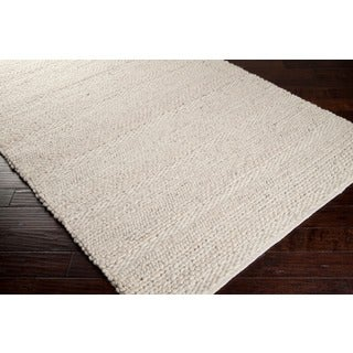 Hand Woven Casual Solid White Aniak Wool Rug 8 X27