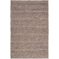Hand-woven Casual Solid Brown Auke Wool Area Rug (5' x 8')