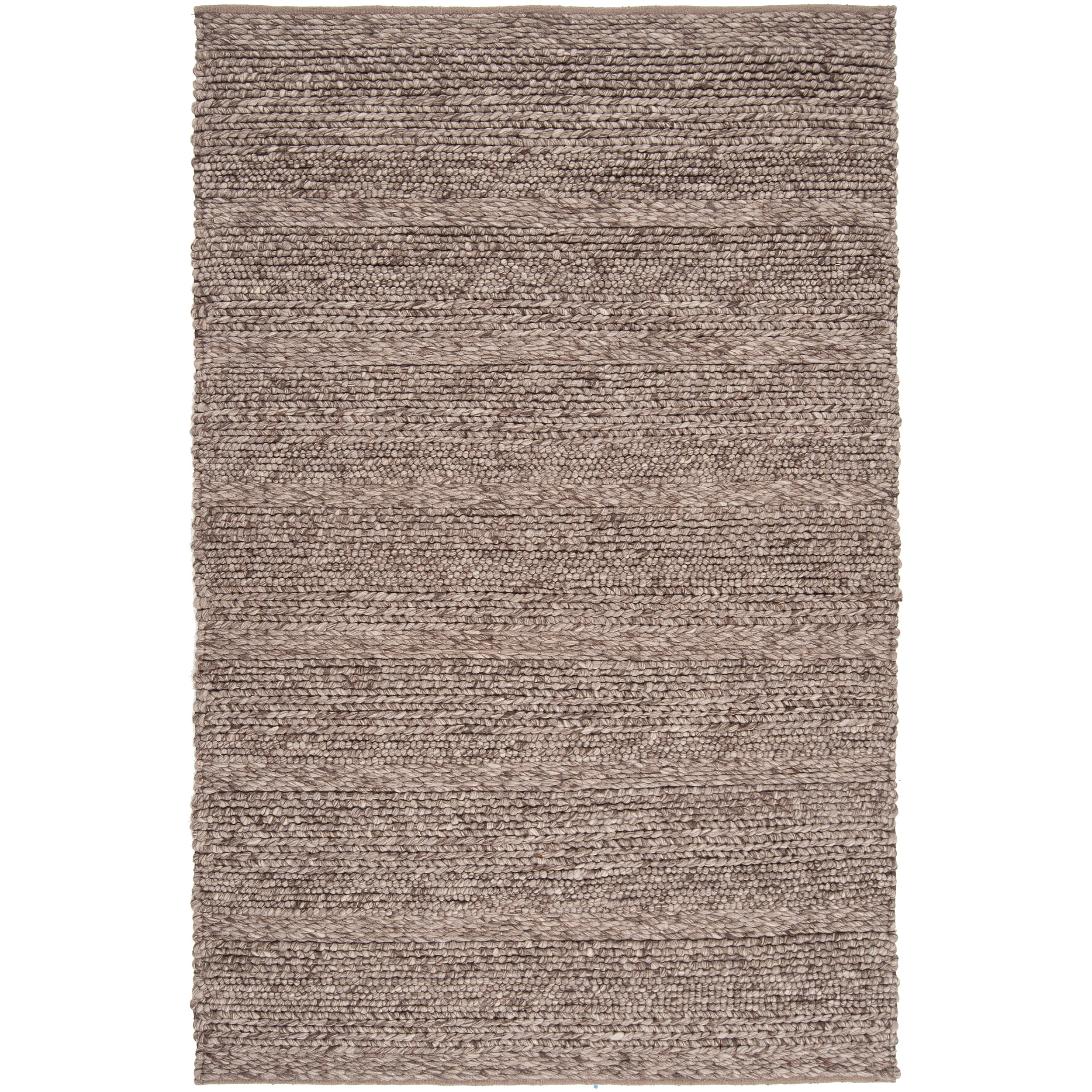 Hand-woven Casual Solid Brown Auke Wool Rug (8' x 10')
