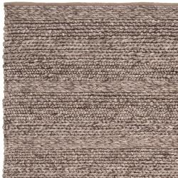 Hand-woven Casual Solid Brown Auke Wool Rug (8' x 10') - Thumbnail 1