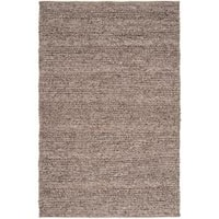 Hand-woven Casual Solid Brown Auke Wool Area Rug (8' x 10')