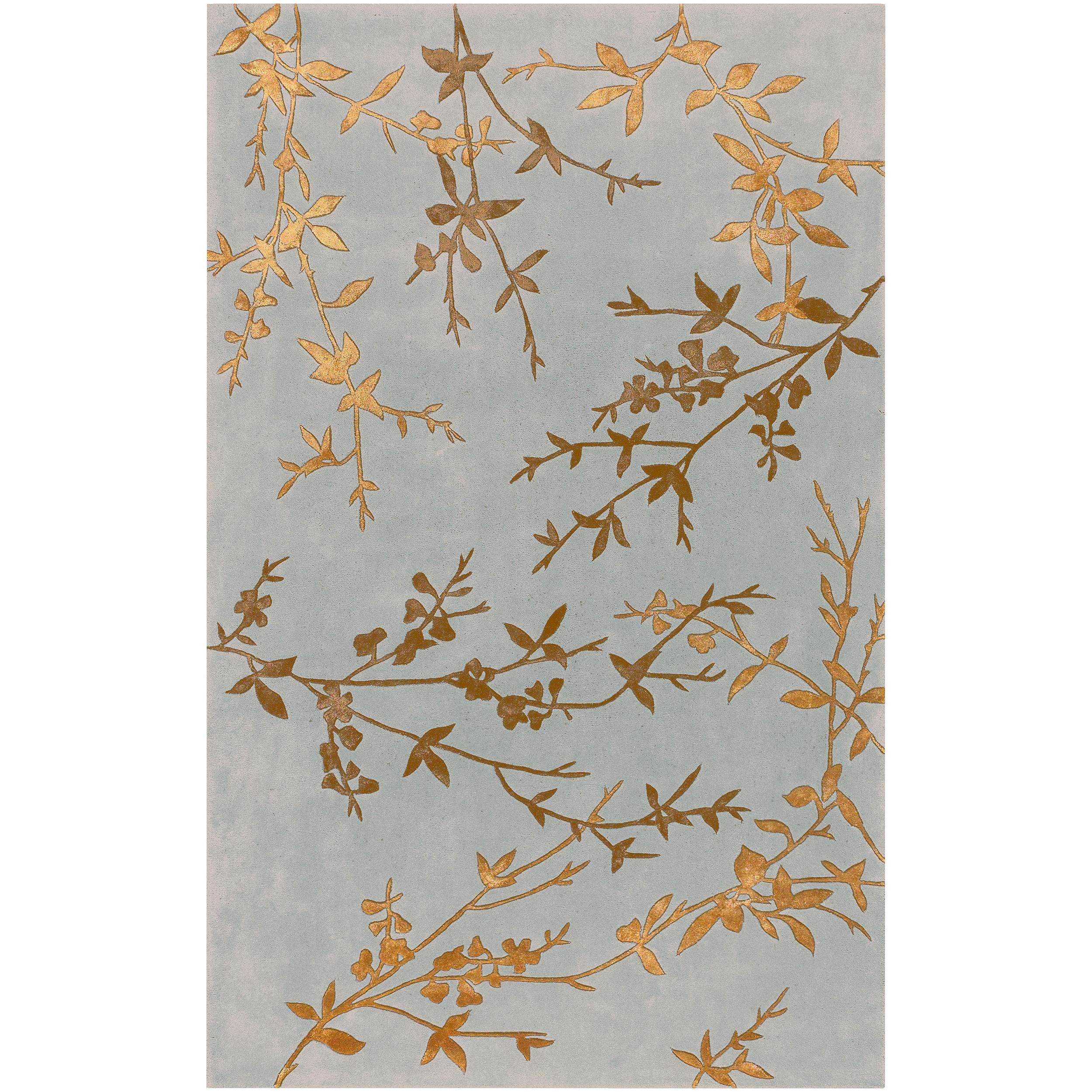 Shop Hand-tufted Brevige Gray Floral Wool Rug