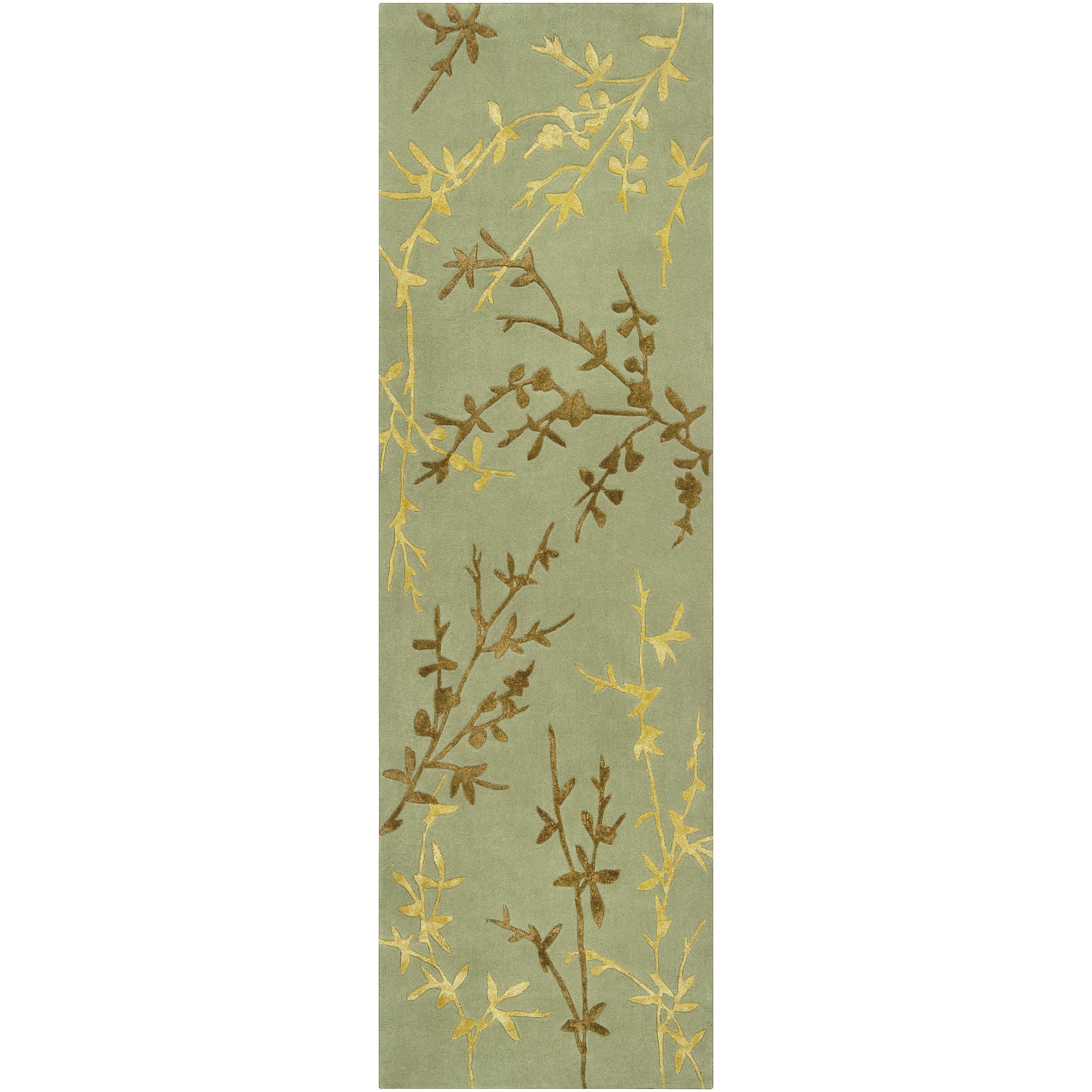 Hand-tufted Cantwell Light Green Floral Wool Blend Rug (2