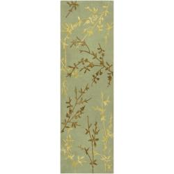 Hand-tufted Cantwell Light Green Floral Wool Blend Rug (2'6 x 8')