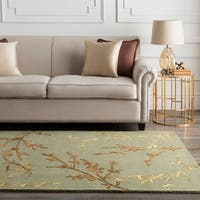 Hand-tufted Cantwell Light Green Floral Wool Blend Area Rug - 2'6 x 8'