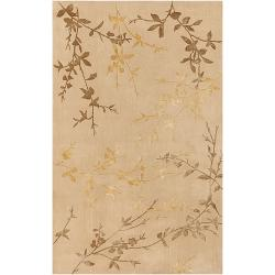 Hand-tufted Beige Chevak Wool Rug (3'6 x 5'6)