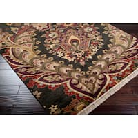 Hand-knotted Black Hyder Semi-worsted New Zealand Wool Area Rug - 5'6 x 8'6