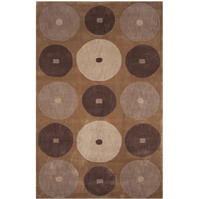 Dynasty Hand-tufted Brown/ Cream Rug (9'6 x 13'6)