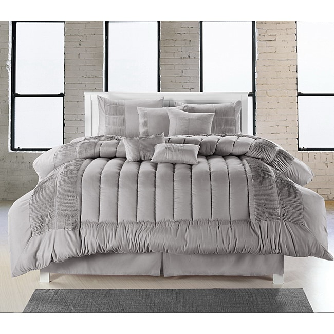 Silver 8-piece Oversized Comforter Set - Thumbnail 0