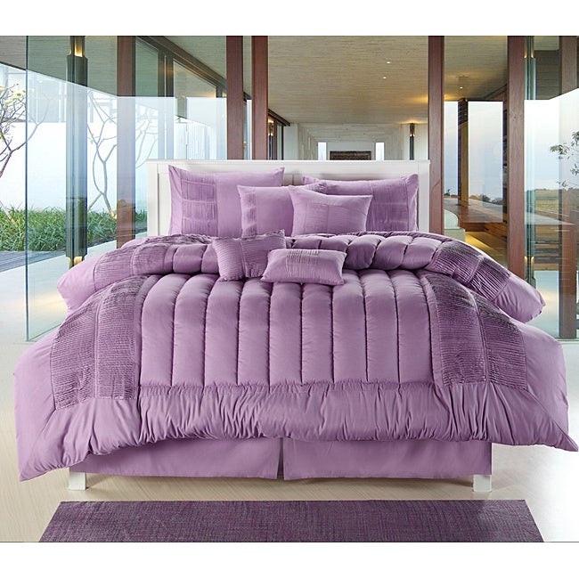 Purple 8-piece Oversized Comforter Set