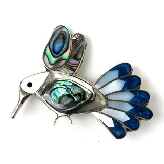 Handmade Abalone Hummingbird Pin (Mexico)