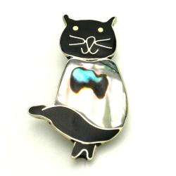 Handmade Mother-of-pearl Cat Pin Inlaid in Alpaca Silver (Mexico)