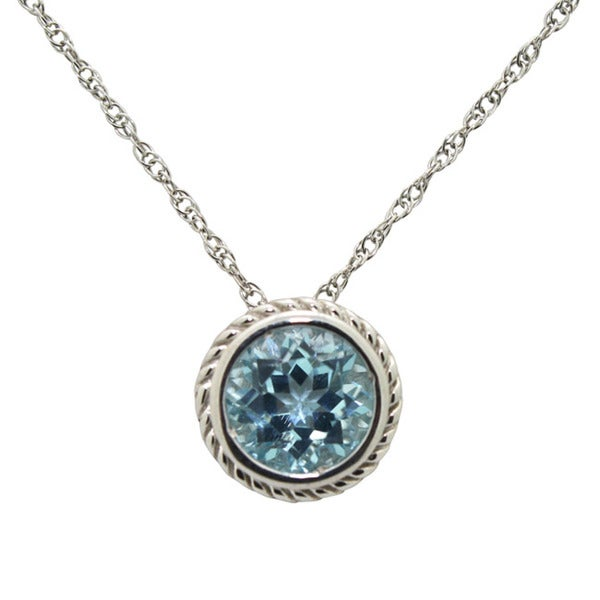 Gioelli Sterling Silver Created Sky Blue Topaz Necklace