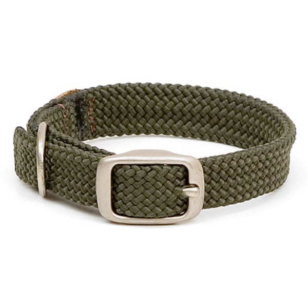 Olive Double-braid 18-inch Pet Collar