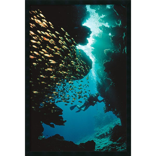 Scuba Diving' Framed Art Print with Gel Coated Finish