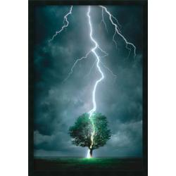 Lightning Striking Tree' Framed Art Print with Gel Coated Finish