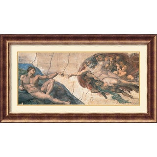 Framed Art Print 'The Creation of Adam, c.1508-12' by Michelangelo Buonarroti 46 x 26-inch