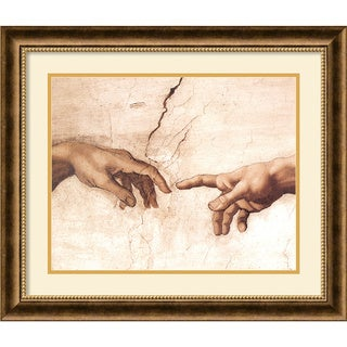 Michelangelo Buonarroti 'The Creation of Adam (Detail I)' Framed Art Print