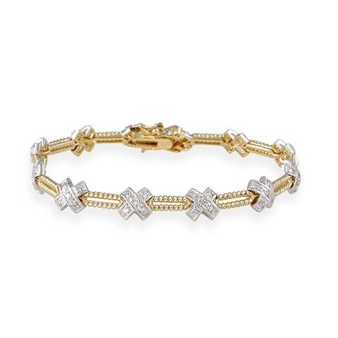 Icz Stonez 24k Gold over Silver Two-tone CZ Bracelet