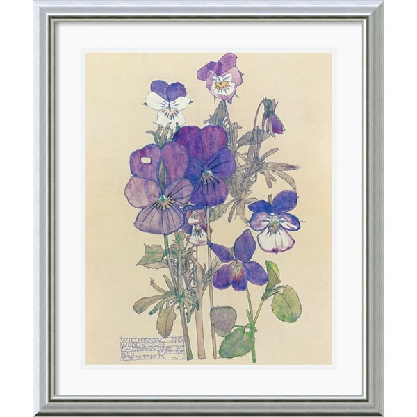 Charles rennie mackintosh wild pansy burnished silver framed art