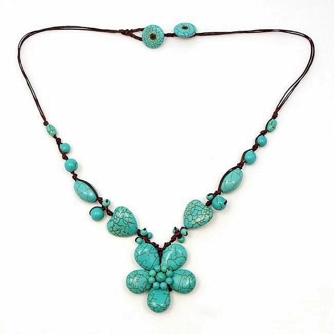 Floral Romance Blue Turquoise Cotton Rope Necklace (Thailand)