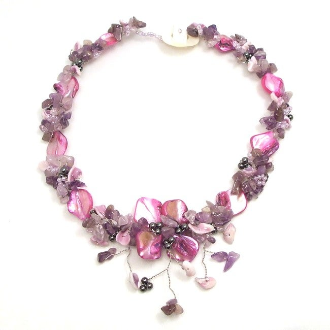Handmade Purple Amethyst and Pink Shells Hidden Floral Toggle Necklace (Philippines)