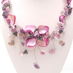 Handmade Purple Amethyst and Pink Shells Hidden Floral Toggle Necklace (Philippines) - Thumbnail 1