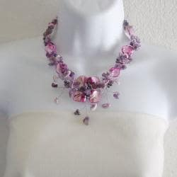 Handmade Purple Amethyst and Pink Shells Hidden Floral Toggle Necklace (Philippines) - Thumbnail 2