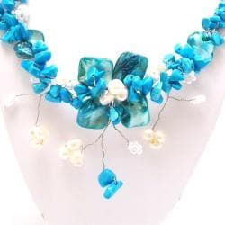 Blue Shells-Turquoise Hidden Floral Toggle Necklace (Philippines)